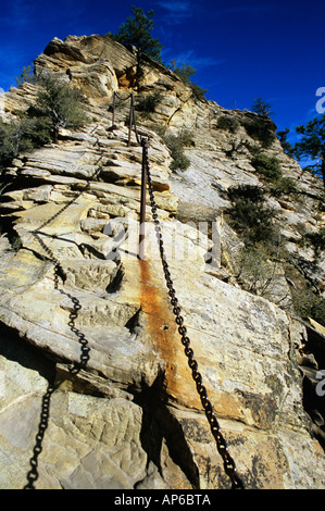 Angel's Landing Trail in Zion National Park Utah - Stock Photo