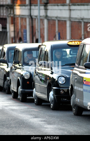 London taxi rank, Waterloo Station, London United Kingdom - Stock Photo