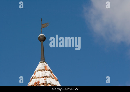 Weathervane on the tip of a round turret, Goldrain Castle, Italy - Stock Photo