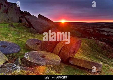 Sunrise Over Millstones Below Stanage Edge, Above Hathersage, Peak District National Park, Derbyshire, England, - Stock Photo