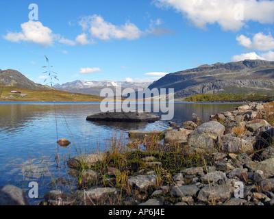 Beautifull lake on Slettefjell during Indian summer, Jotunheimen, Norway - Stock Photo