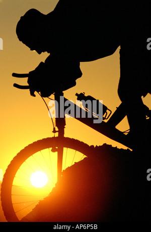 Silhouette of mountain biker descending at sunset - Stock Photo