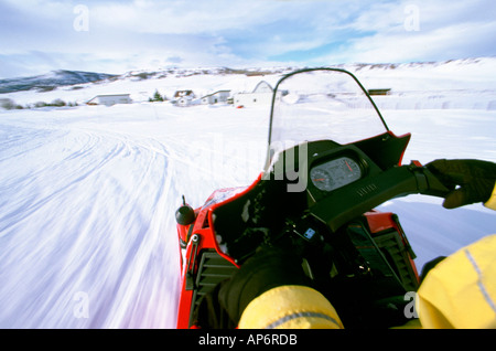 Snowmobile action, personal perspective, Colorado, USA - Stock Photo
