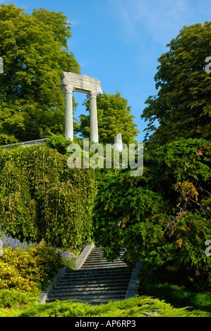 Roman ruins in the trees. - Stock Photo