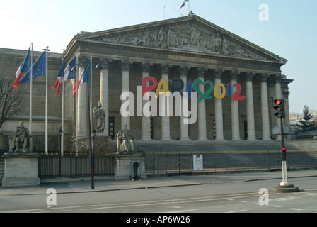 Paris 2012 Olympic Games candidate city sign on Assemblee Nationale Paris France - Stock Photo