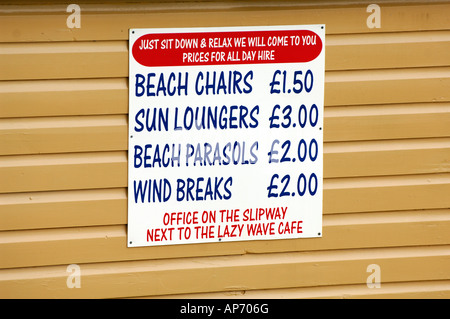 Deck Chairs For Hire Sign On Swanage Beach Dorset Stock
