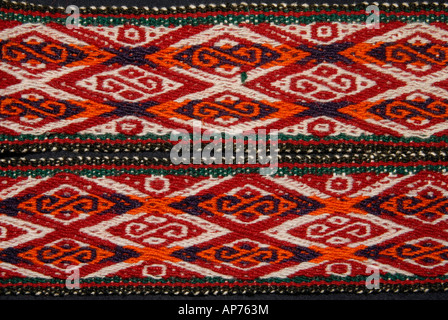 Detail of Andean fabric belts from Peru with geometric motifs - Stock Photo