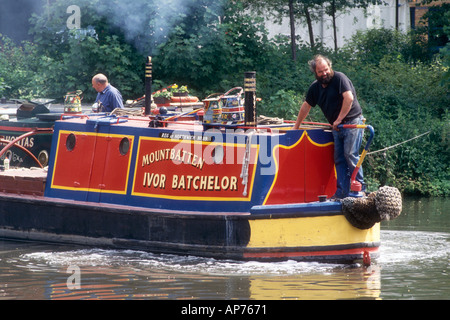 Ivor Batchelors ex FMC Admiralty Class motor narrowboat Mountbatten on the Grand Union Canal at Batchworth in Hertfordshire - Stock Photo