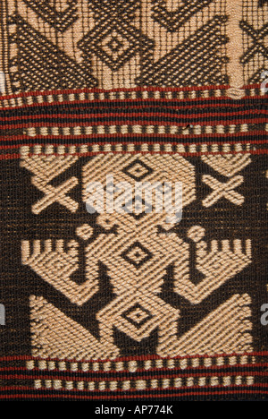 Detail of supplementary warp brocading on a Sumbanese fabric Sumba Indonesia - Stock Photo