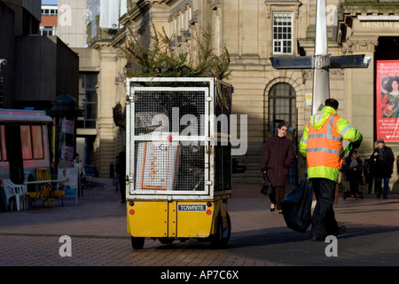 Street cleaners in Victoria Square Birmingham UK - Stock Photo