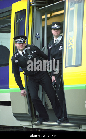 British Transport Police officers operating on the Birmingham Metro - Stock Photo