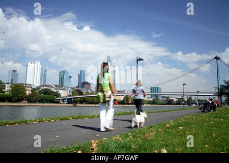 Walking the dog along Schaumainkia on the south bank of the river Main in central Frankfurt - Stock Photo