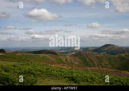 View from the Long Mynd over the Stretton Hills, Shropshire - Stock Photo