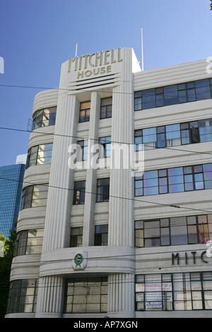 Mitchell House is a multistorey, Streamline Moderne, art deco, commercial building, Melbourne, Australia. - Stock Photo