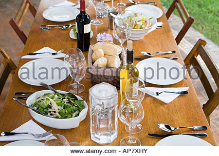 Food and drink on a table - Stock Photo