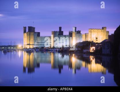 Caernarfon Castle Twilight View Gwynedd North Wales UK - Stock Photo