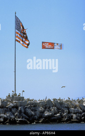 Aerial advertising for beverage outside breakwater at Marina del Rey in Southern Calfornia - Stock Photo