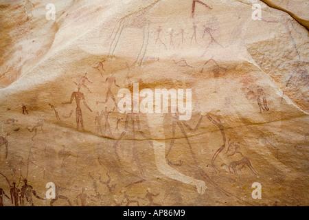 Rock art, Mestekawi Cave, Gilf Kebir, Egypt's Western desert. - Stock Photo