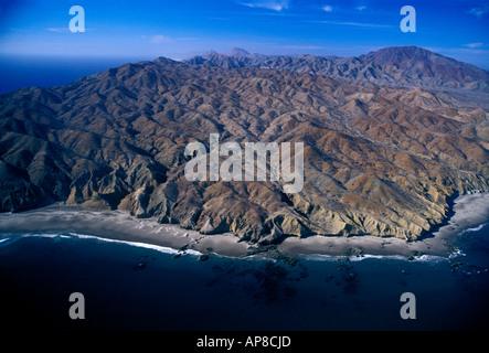 beach, mountain landscape, Magdalena Bay, Baja California Sur State, Mexico - Stock Photo