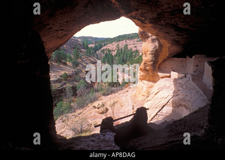 Looking out from the main ruin at Gila Cliff Dwellings Gila Cliff Dwellings National Monument New Mexico - Stock Photo