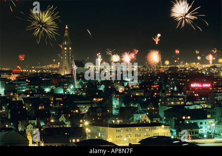 New Years Eve in Reykjavik Fireworks over Reykjavik