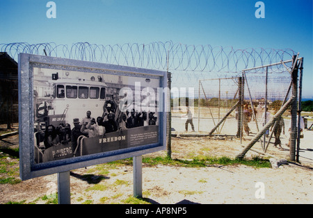 Exhibits and barbed wire fencing near the harbour of Robben Island near Cape Town South Africa - Stock Photo
