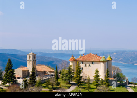 french chateau in the village of Aiguines overlooking Lac de Sainte Croix, France - Stock Photo