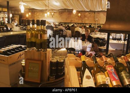 wine selection Los Olivos Cafe Los Olivos Santa Ynez Valley California - Stock Photo