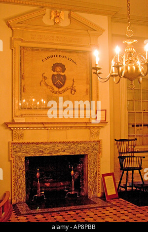 interior of Carpenters Hall Independence National Historical Park Philadelphia Pennsylvania - Stock Photo