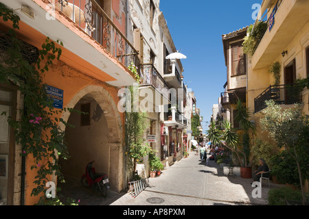 Typical Street in Old Town, Chania, North West Coast, Crete, Greece - Stock Photo