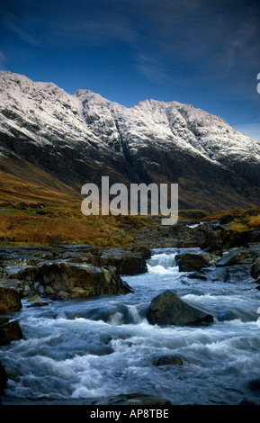 PICTURE CREDIT DOUG BLANE Anach Eagach ridge in winter snow Glen Coe Highlands Scotland United Kingdom of Great - Stock Photo