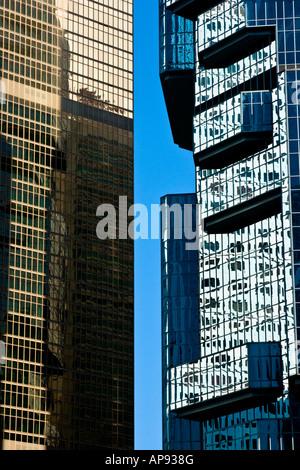 Closeup Architectural Design Buildings in Hong Kong - Stock Photo