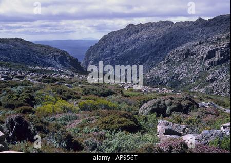 Mountainous countryside in the Ben Lomond National Park Tasmania - Stock Photo