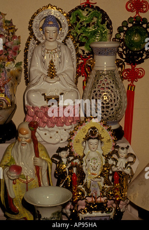 Porcelain statue statues in store shop shopping, Chinatown, city of Honolulu, Oahu Island, Hawaii - Stock Photo