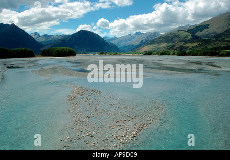 Dart River with Mt Earnslaw near Glenorchy South Island New Zealand - Stock Photo
