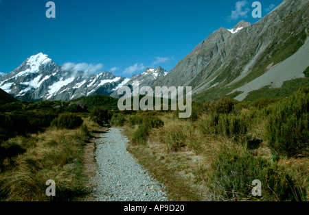 Mt Cook and Hooker Valley highest mountain Southern Alps South Island New Zealand - Stock Photo
