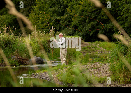 Elderly man fly fishing for wild brown trout on the River Teifi near Tregaron Ceredigion Mid-Wales UK - Stock Photo