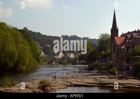General view of the River Dee flowing through Llangollen Denbighshire North Wales UK - Stock Photo