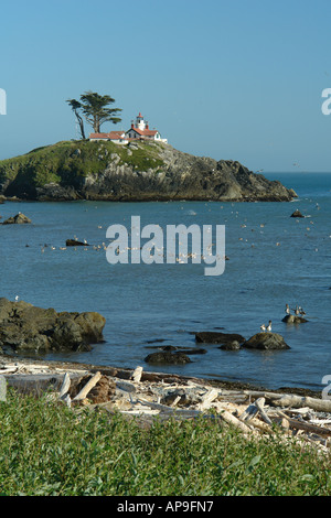 AJD51241, Crescent City, CA, California, Pacific Ocean, Battery Point Lighthouse ca 1856, Battery Point Island - Stock Photo