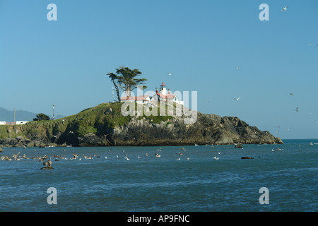 AJD51243, Crescent City, CA, California, Pacific Ocean, Battery Point Lighthouse ca 1856, Battery Point Island - Stock Photo