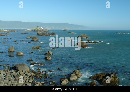 AJD51244, Crescent City, CA, California, Pacific Ocean, Battery Point Lighthouse ca 1856, Battery Point Island - Stock Photo