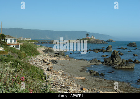 AJD51246, Crescent City, CA, California, Pacific Ocean, Battery Point Lighthouse ca 1856, Battery Point Island - Stock Photo