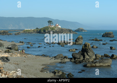 AJD51247, Crescent City, CA, California, Pacific Ocean, Battery Point Lighthouse ca 1856, Battery Point Island - Stock Photo