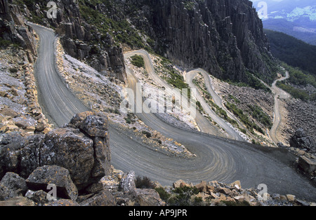 Windy road called Jacobs Ladder Ben Lomond National Park Tasmania - Stock Photo