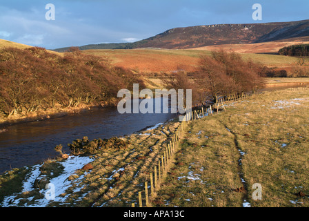 View down the river Coquet at Hepple to the Simonside Hills, Northumberland, England, UK. - Stock Photo