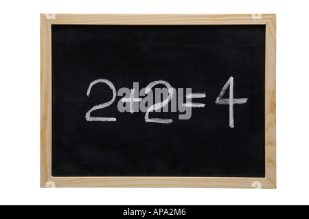 WOODEN FRAMED BLACK BOARD WITH THE SUM TOW PLUS TWO EQUALS FOUR WRITTEN WITH WHITE CHALK - Stock Photo
