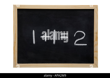 WOODEN FRAMED BLACK BOARD WITH THE SUM ONE PLUS ONE EQUALS TWO WRITTEN WITH WHITE CHALK - Stock Photo