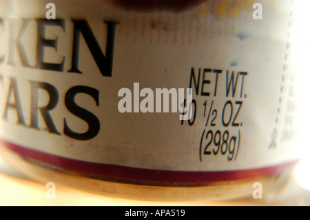 Close up food can KEN ARS NET WT 10 1 2 OZ white label black text - Stock Photo