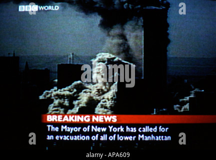 A screen shot of BBC's live coverage of events unfolding in New York during 9/11 - Stock Photo