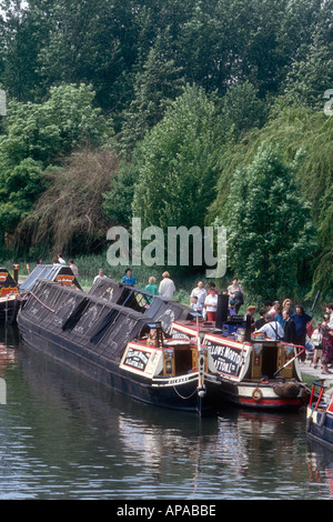The 1908 FMC steam narrowboat President on the Grand Union Canal at batchworth in Hertfordshire England UK - Stock Photo